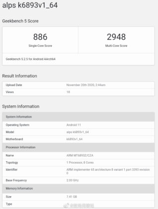 MT6893 Geekbench